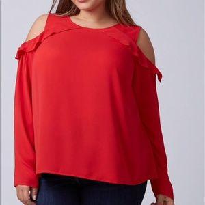 Lane Bryant cold shoulder blouse Red Plus 28